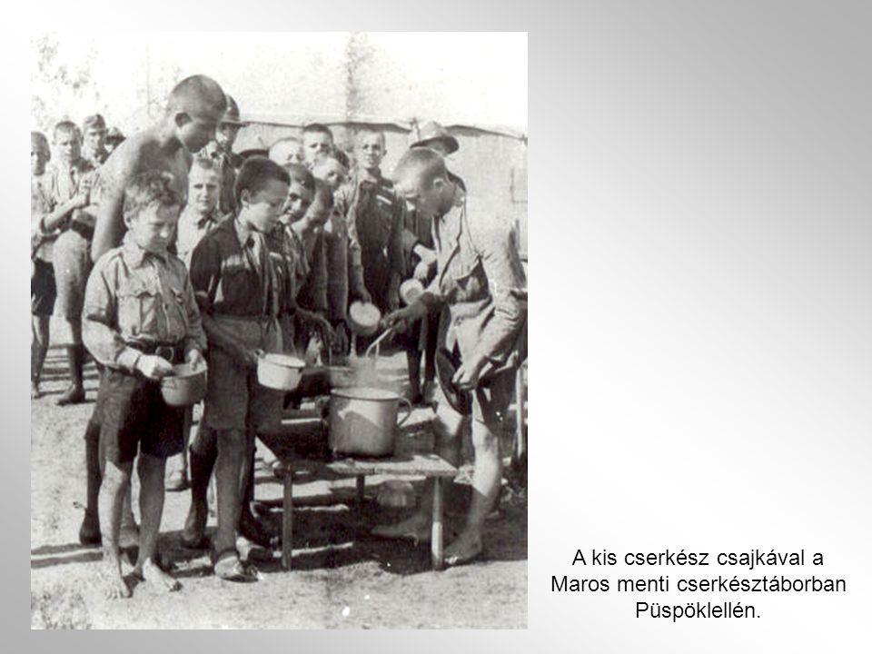 A kis cserkész csajkával a Maros menti cserkésztáborban Püspöklellén.