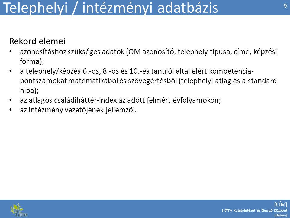Telephelyi / intézményi adatbázis
