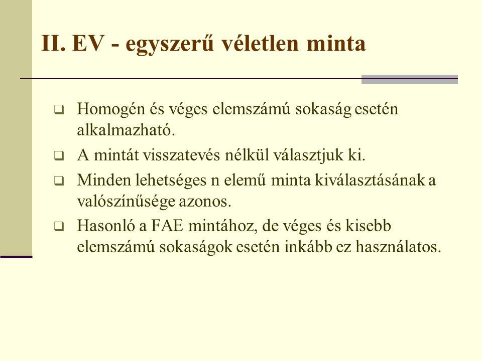 II. EV - egyszerű véletlen minta
