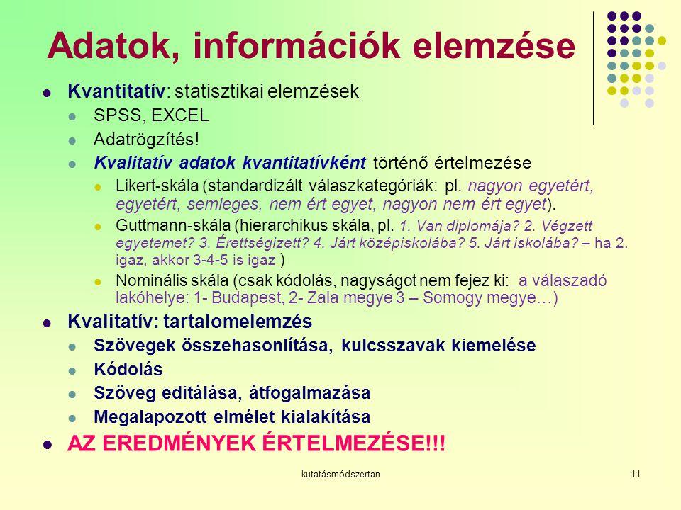 Adatok, információk elemzése