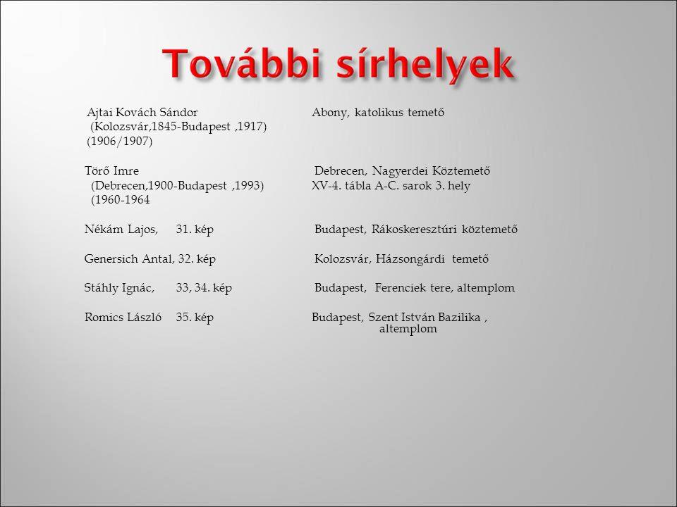 Ajtai Kovách Sándor Abony, katolikus temető (Kolozsvár,1845-Budapest ,1917) (1906/1907) Törő Imre Debrecen, Nagyerdei Köztemető (Debrecen,1900-Budapest ,1993) XV-4.