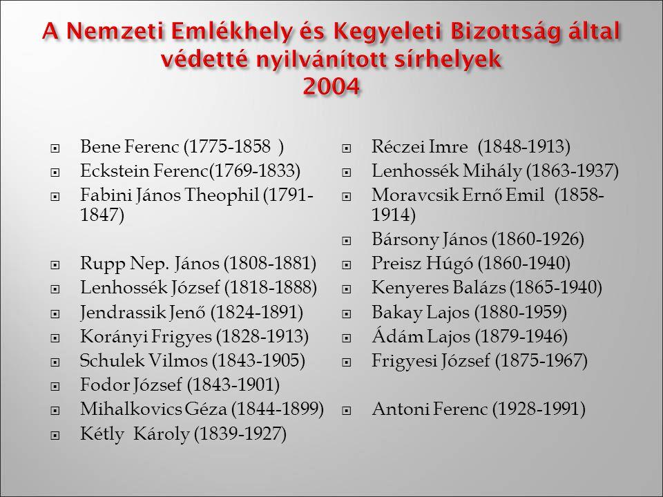 Bene Ferenc (1775-1858 ) Réczei Imre (1848-1913) Eckstein Ferenc(1769-1833) Lenhossék Mihály (1863-1937)