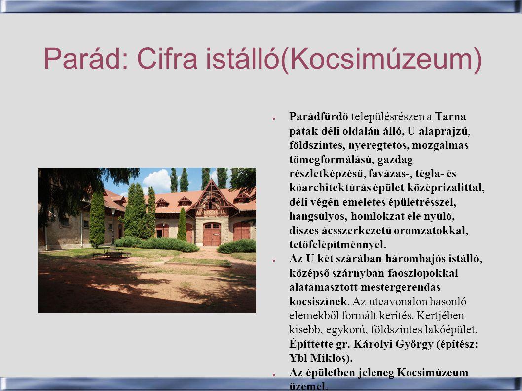 Parád: Cifra istálló(Kocsimúzeum)