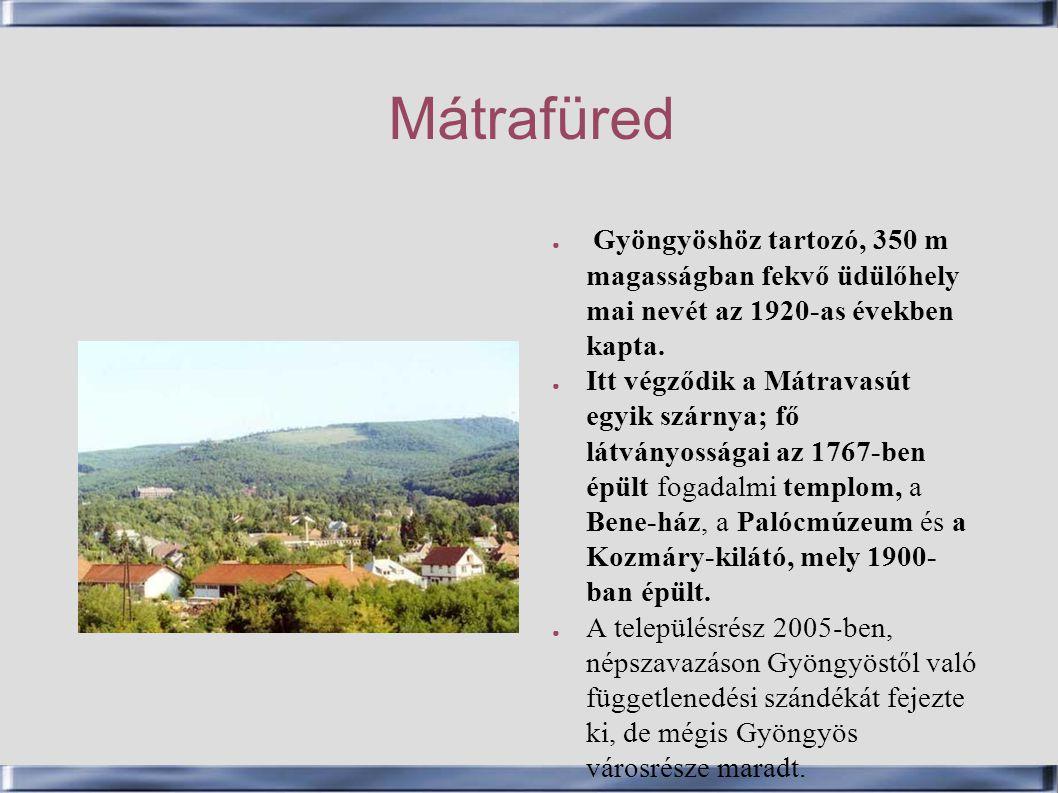 Mátrafüred Gyöngyöshöz tartozó, 350 m magasságban fekvő üdülőhely mai nevét az 1920-as években kapta.