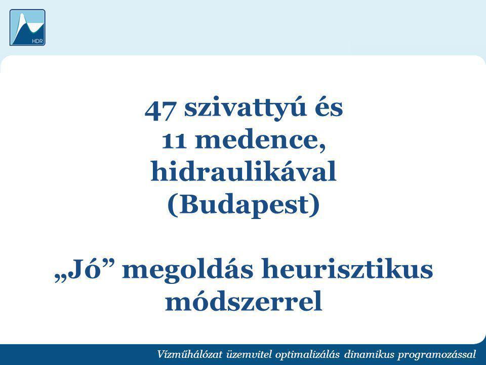 """47 szivattyú és 11 medence, hidraulikával (Budapest) """"Jó megoldás heurisztikus módszerrel"""