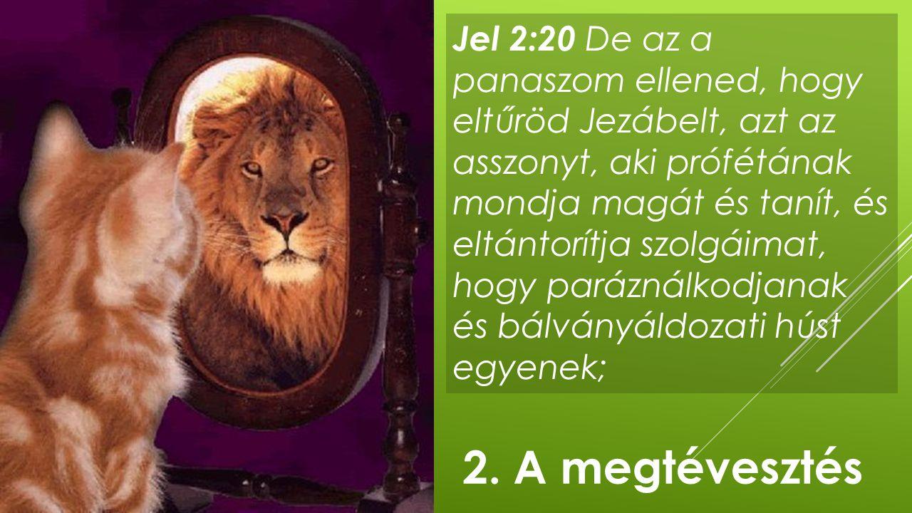 Jel 2:20 De az a panaszom ellened, hogy eltűröd Jezábelt, azt az asszonyt, aki prófétának mondja magát és tanít, és eltántorítja szolgáimat, hogy paráználkodjanak és bálványáldozati húst egyenek;