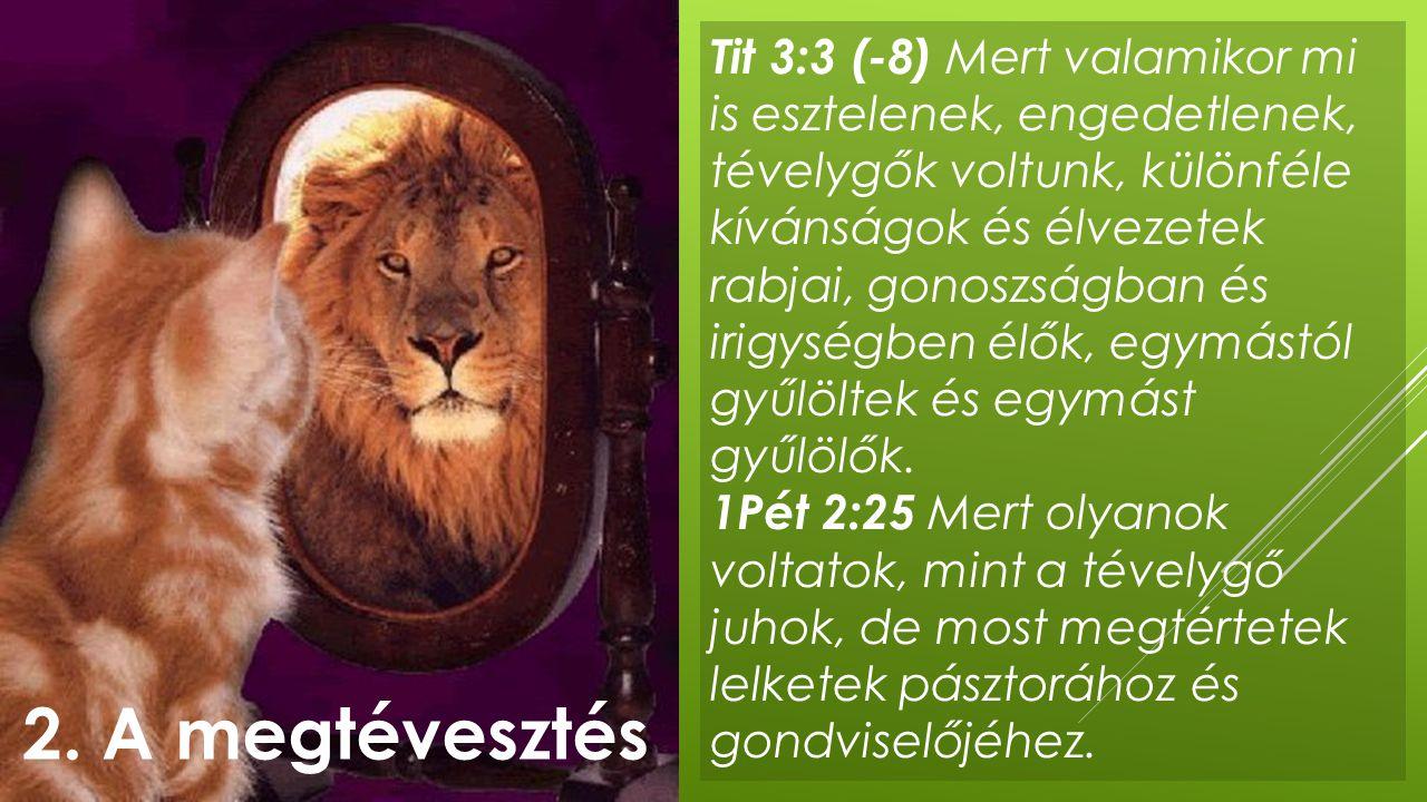 Tit 3:3 (-8) Mert valamikor mi is esztelenek, engedetlenek, tévelygők voltunk, különféle kívánságok és élvezetek rabjai, gonoszságban és irigységben élők, egymástól gyűlöltek és egymást gyűlölők.