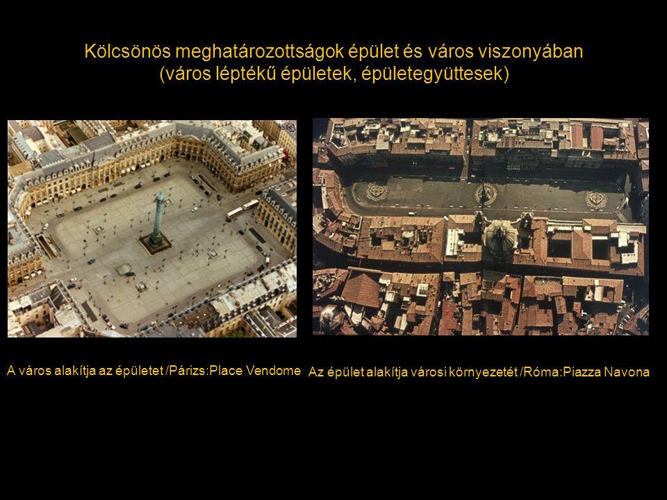 Kölcsönös meghatározottságok épület és város viszonyában (város léptékű épületek, épületegyüttesek)