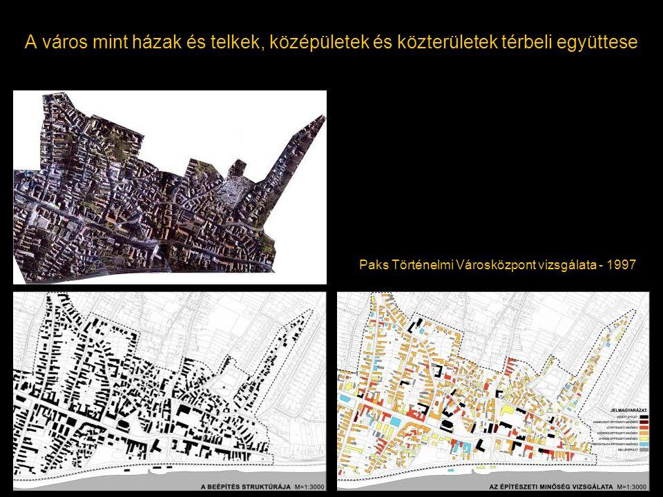 A város mint házak és telkek, középületek és közterületek térbeli együttese