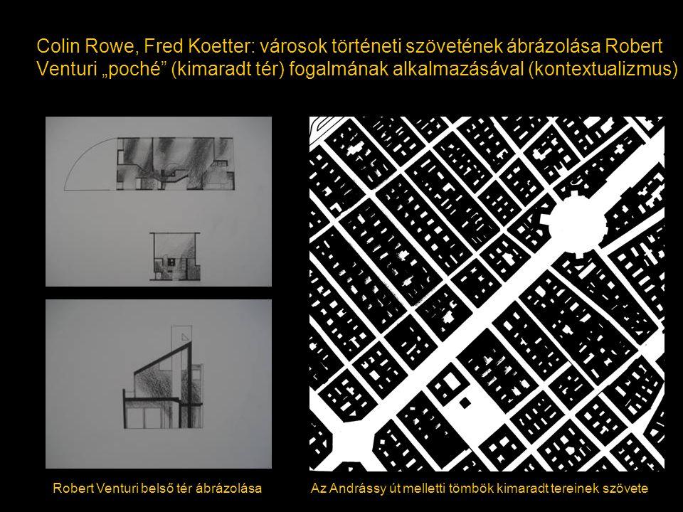 """Colin Rowe, Fred Koetter: városok történeti szövetének ábrázolása Robert Venturi """"poché (kimaradt tér) fogalmának alkalmazásával (kontextualizmus)"""