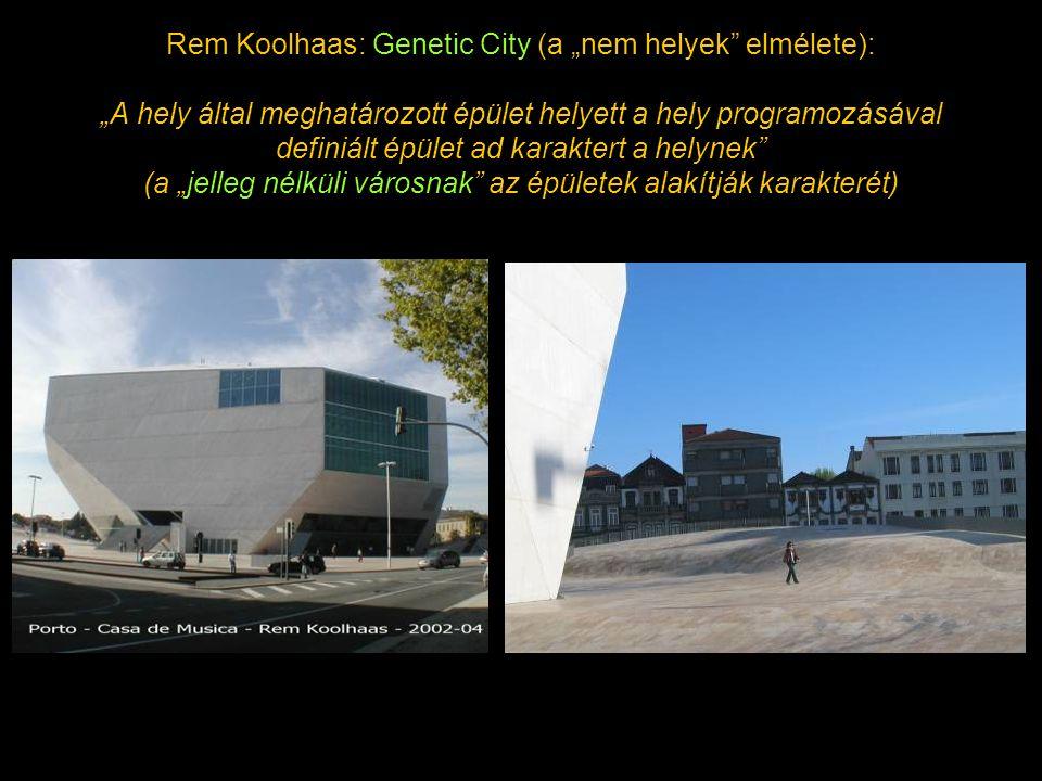 """Rem Koolhaas: Genetic City (a """"nem helyek elmélete): """"A hely által meghatározott épület helyett a hely programozásával definiált épület ad karaktert a helynek (a """"jelleg nélküli városnak az épületek alakítják karakterét)"""