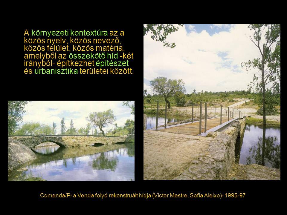 A környezeti kontextúra az a közös nyelv, közös nevező, közös felület, közös matéria, amelyből az összekötő híd -két irányból- építkezhet építészet és urbanisztika területei között.