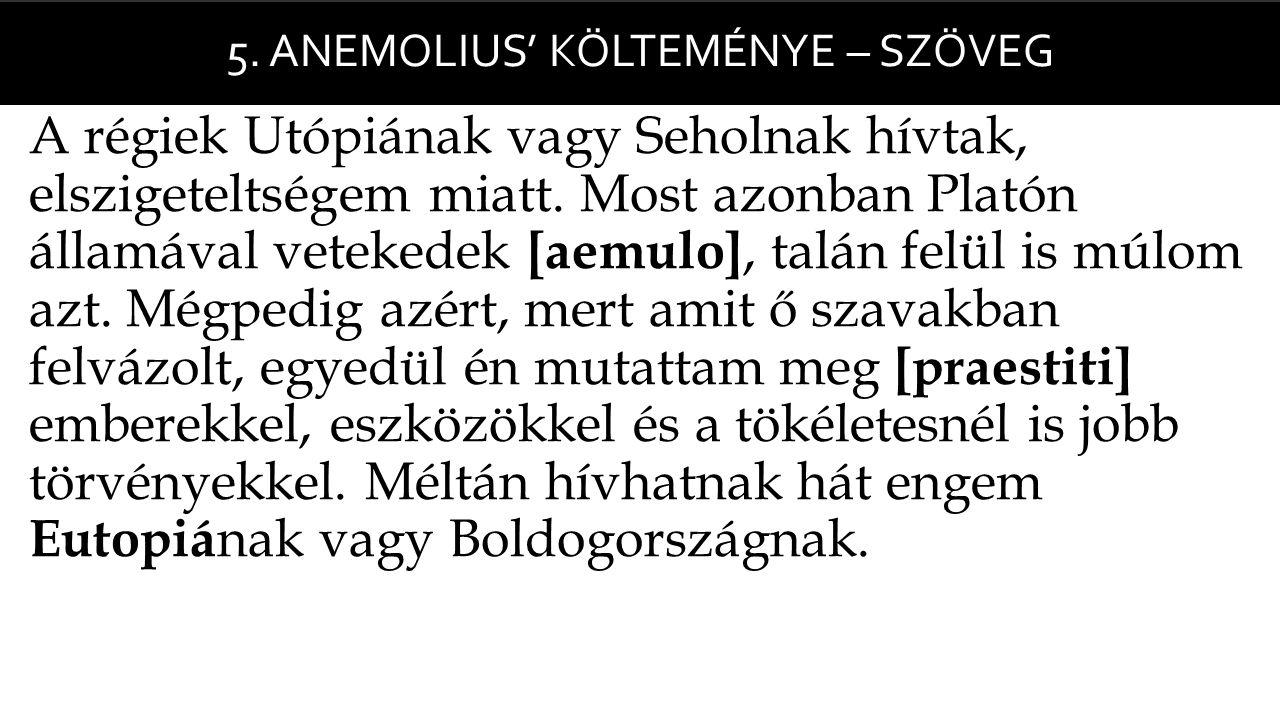 5. Anemolius' Költeménye – szöveg