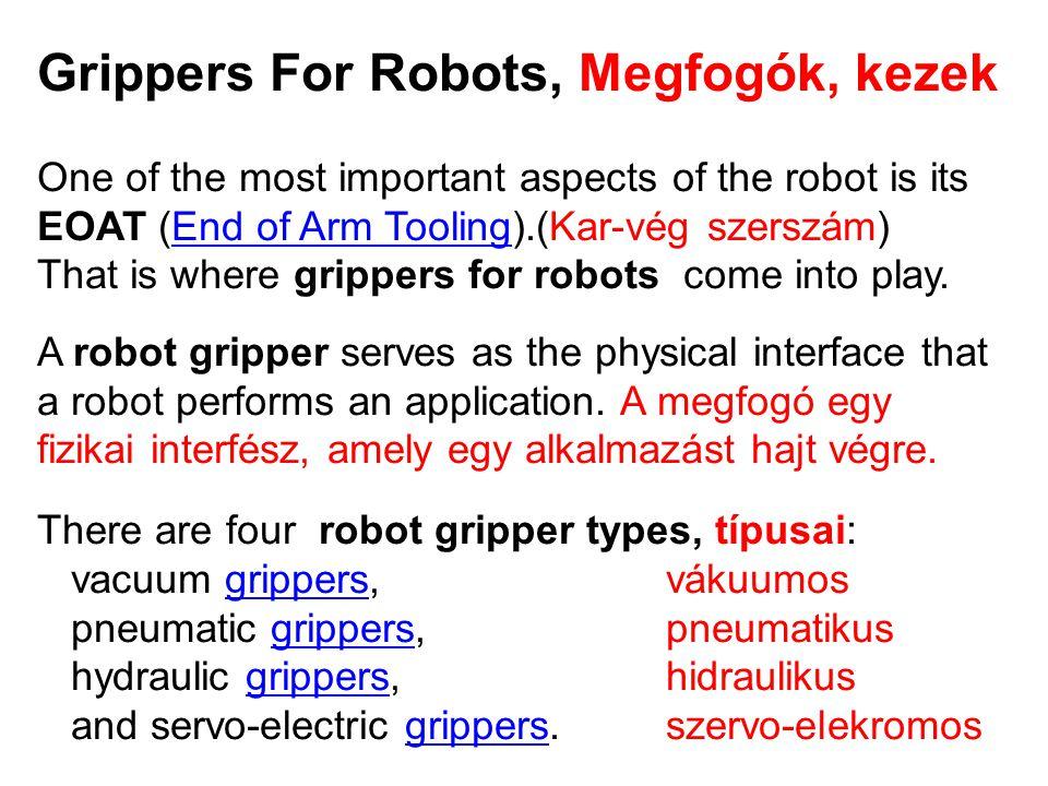 Grippers For Robots, Megfogók, kezek