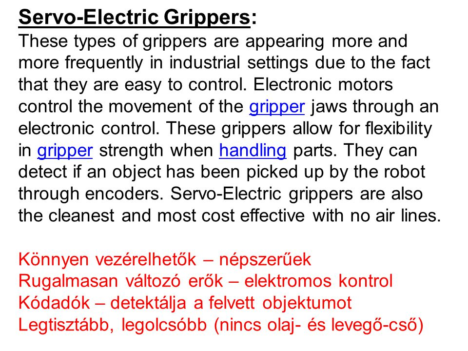 Servo-Electric Grippers: