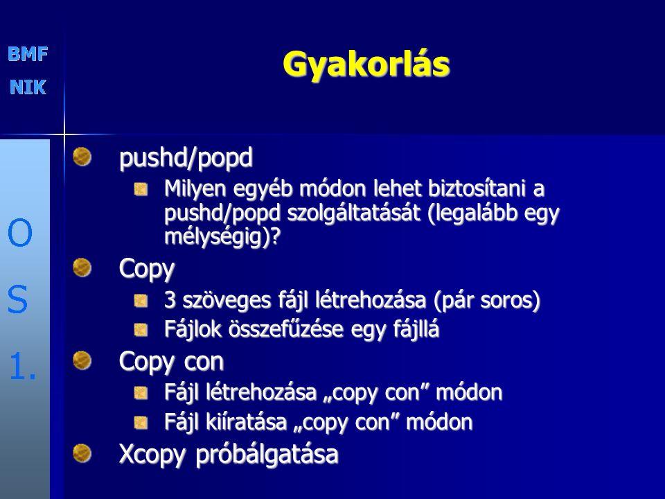 Gyakorlás pushd/popd Copy Copy con Xcopy próbálgatása