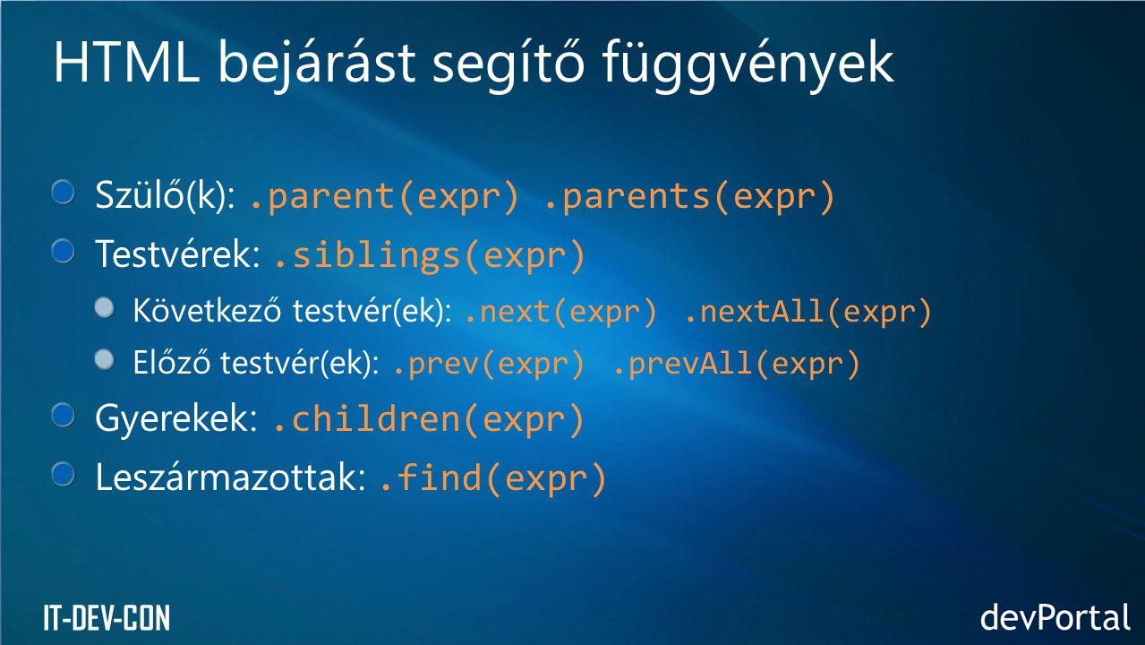HTML bejárást segítő függvények