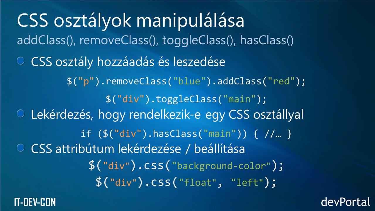 CSS osztályok manipulálása