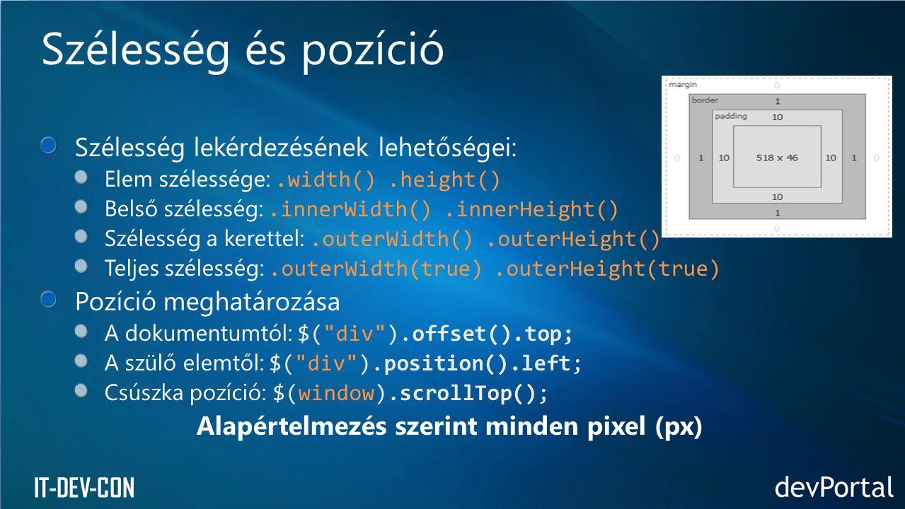 Alapértelmezés szerint minden pixel (px)