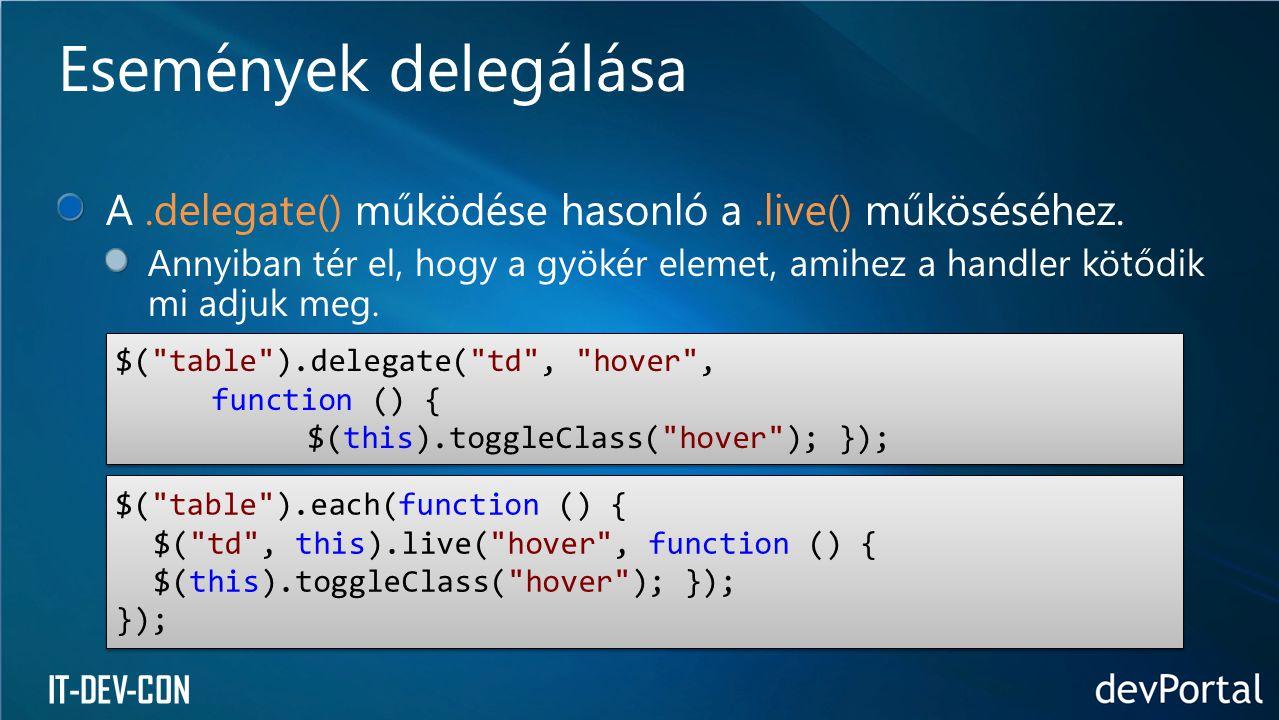 Események delegálása A .delegate() működése hasonló a .live() műköséséhez.