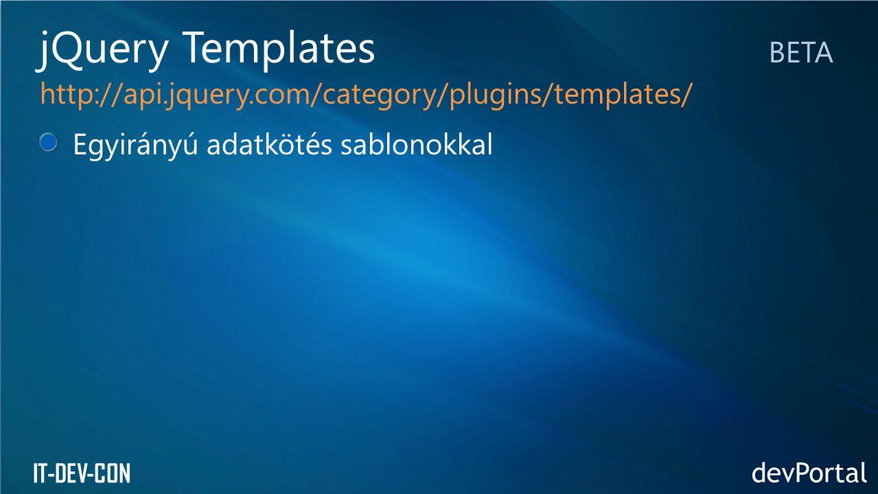 jQuery Templates BETA http://api.jquery.com/category/plugins/templates/ Egyirányú adatkötés sablonokkal.