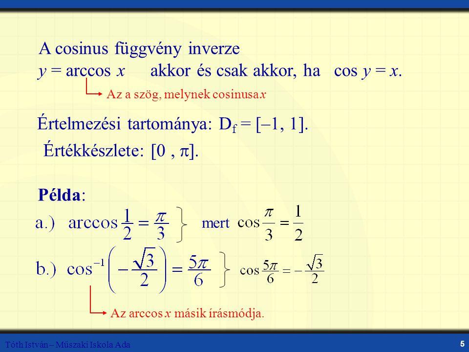 A cosinus függvény inverze