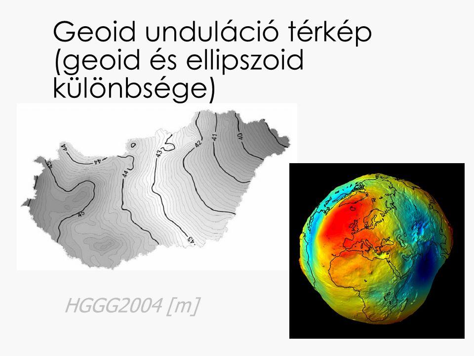 Geoid unduláció térkép (geoid és ellipszoid különbsége)