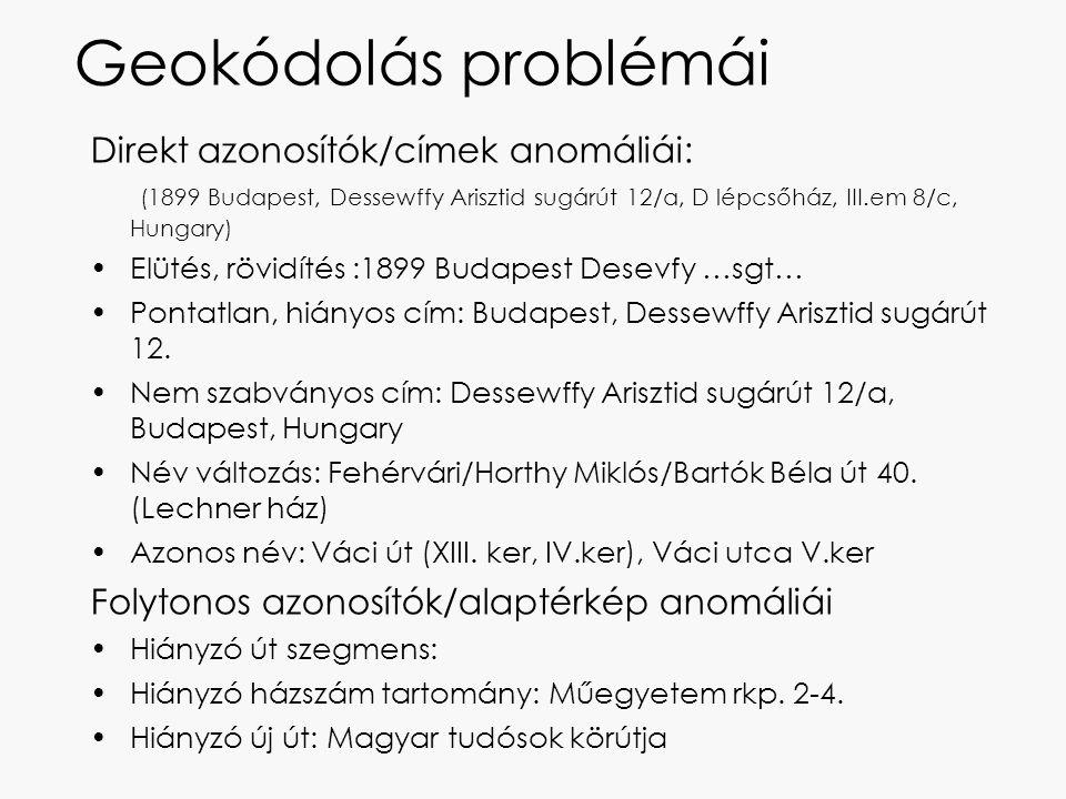 Geokódolás problémái Direkt azonosítók/címek anomáliái: (1899 Budapest, Dessewffy Arisztid sugárút 12/a, D lépcsőház, III.em 8/c, Hungary)