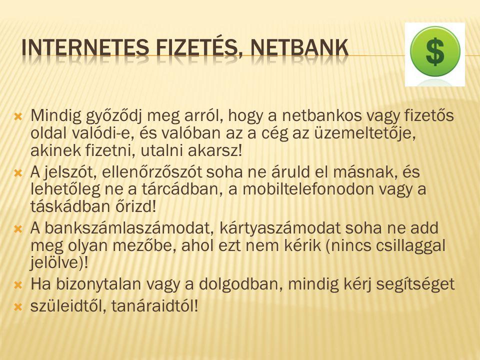 INTERNETES FIZETÉS, NETBANK