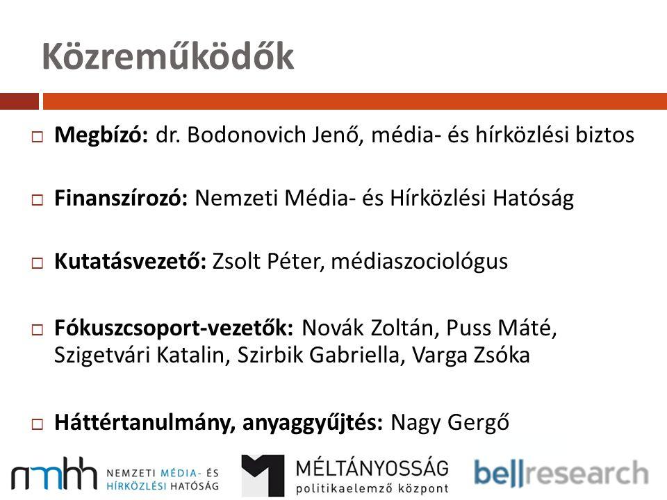 Közreműködők Megbízó: dr. Bodonovich Jenő, média- és hírközlési biztos