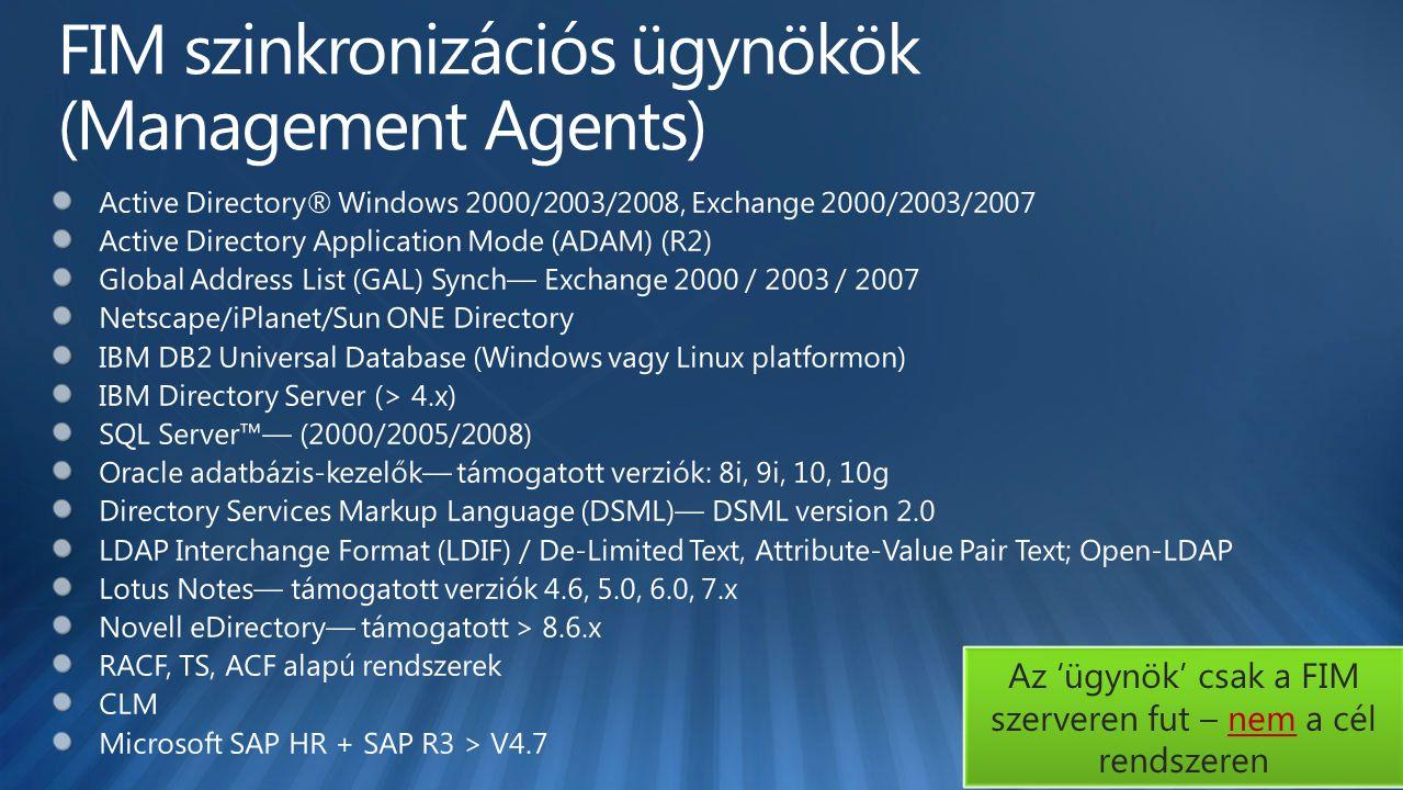 FIM szinkronizációs ügynökök (Management Agents)