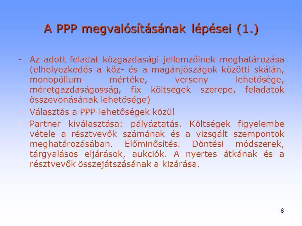 A PPP megvalósításának lépései (1.)