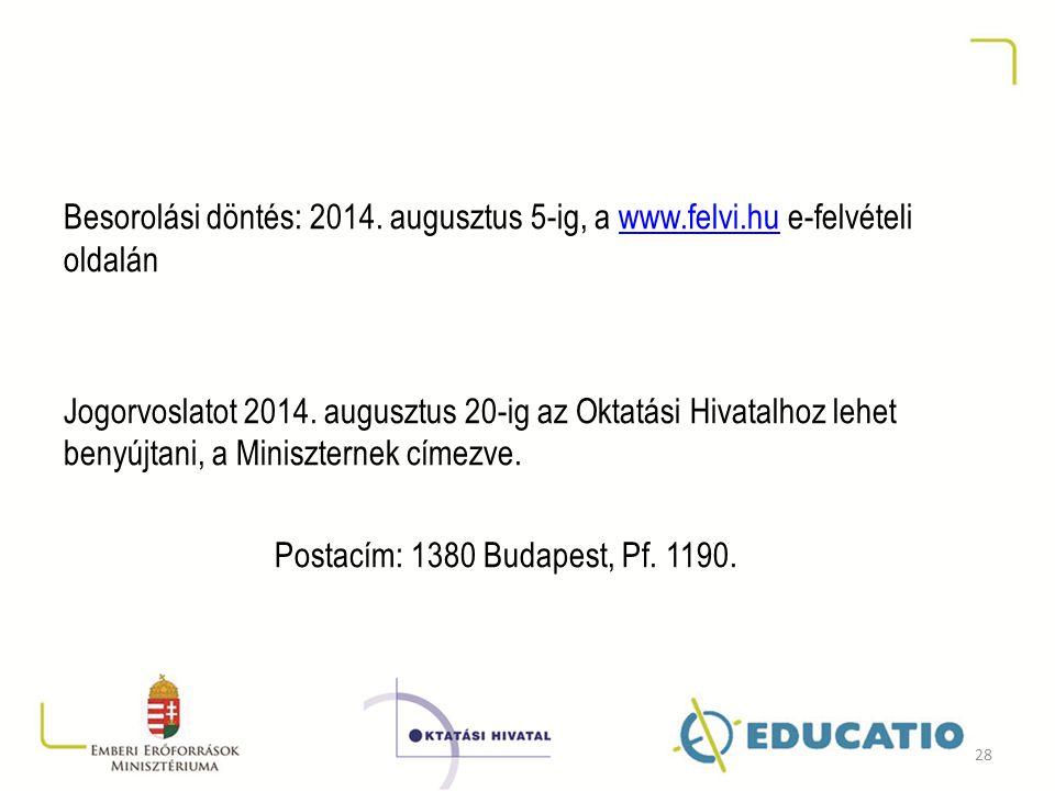 Besorolási döntés: 2014. augusztus 5-ig, a www. felvi