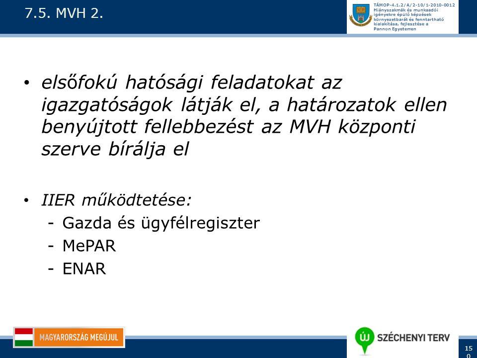 7.5. MVH 2. elsőfokú hatósági feladatokat az igazgatóságok látják el, a határozatok ellen benyújtott fellebbezést az MVH központi szerve bírálja el.