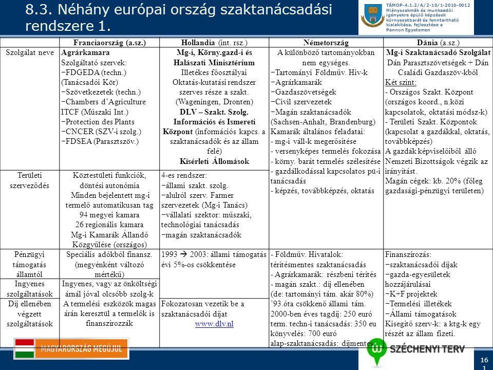 8.3. Néhány európai ország szaktanácsadási rendszere 1.
