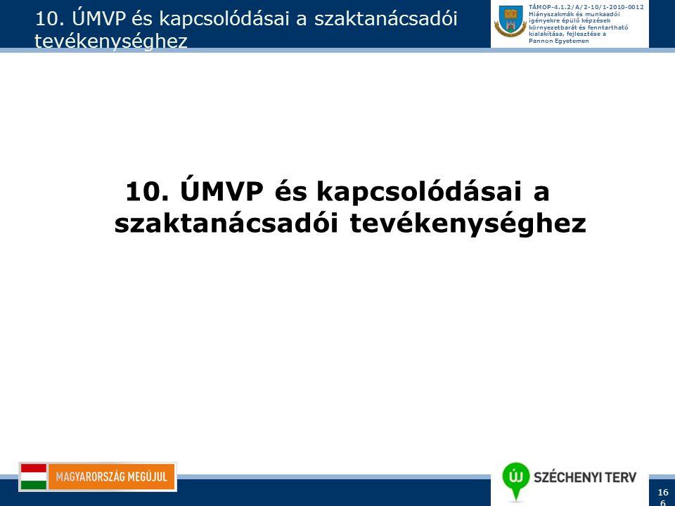 10. ÚMVP és kapcsolódásai a szaktanácsadói tevékenységhez
