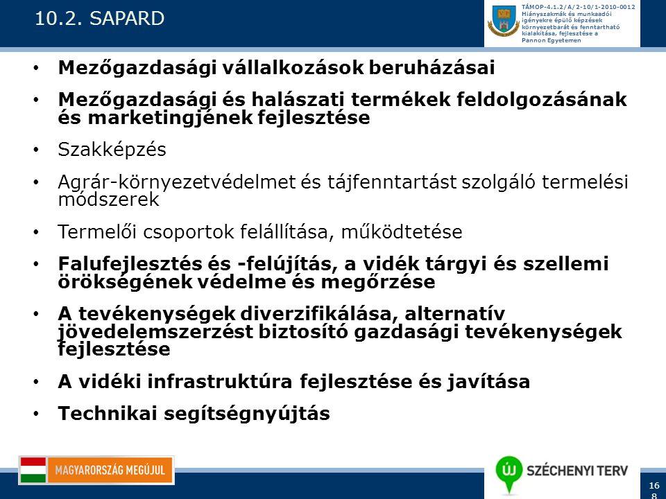 10.2. SAPARD Mezőgazdasági vállalkozások beruházásai. Mezőgazdasági és halászati termékek feldolgozásának és marketingjének fejlesztése.