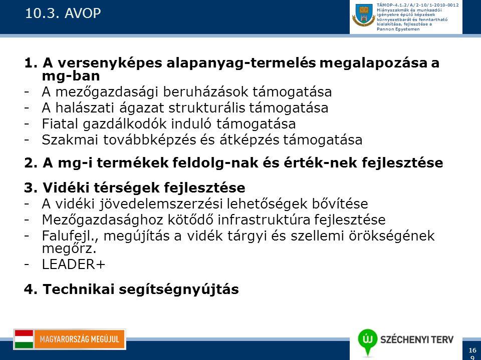 10.3. AVOP 1. A versenyképes alapanyag-termelés megalapozása a mg-ban. A mezőgazdasági beruházások támogatása.