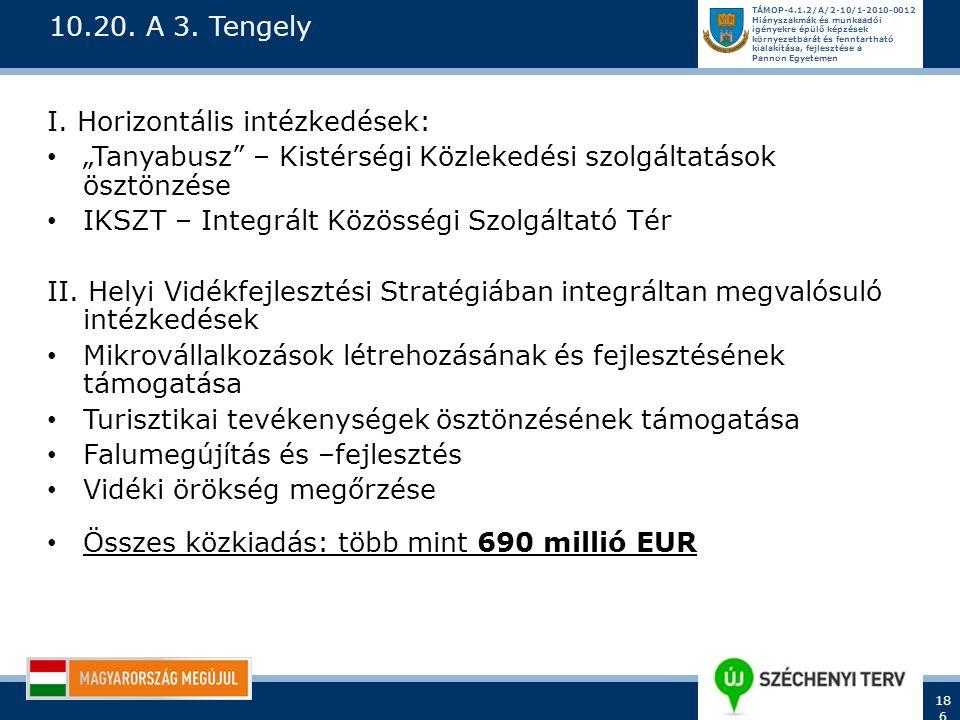 """10.20. A 3. Tengely I. Horizontális intézkedések: """"Tanyabusz – Kistérségi Közlekedési szolgáltatások ösztönzése."""