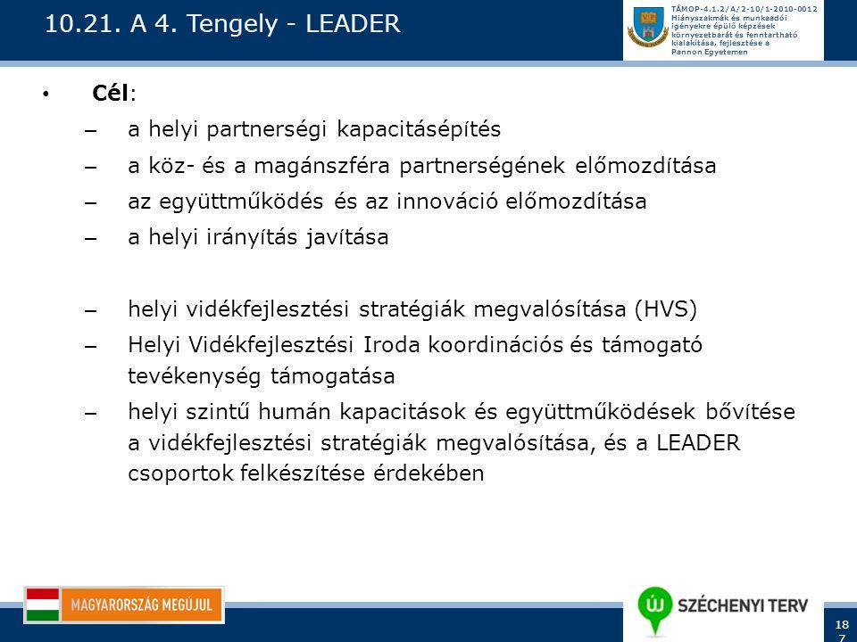 10.21. A 4. Tengely - LEADER Cél: a helyi partnerségi kapacitásépítés