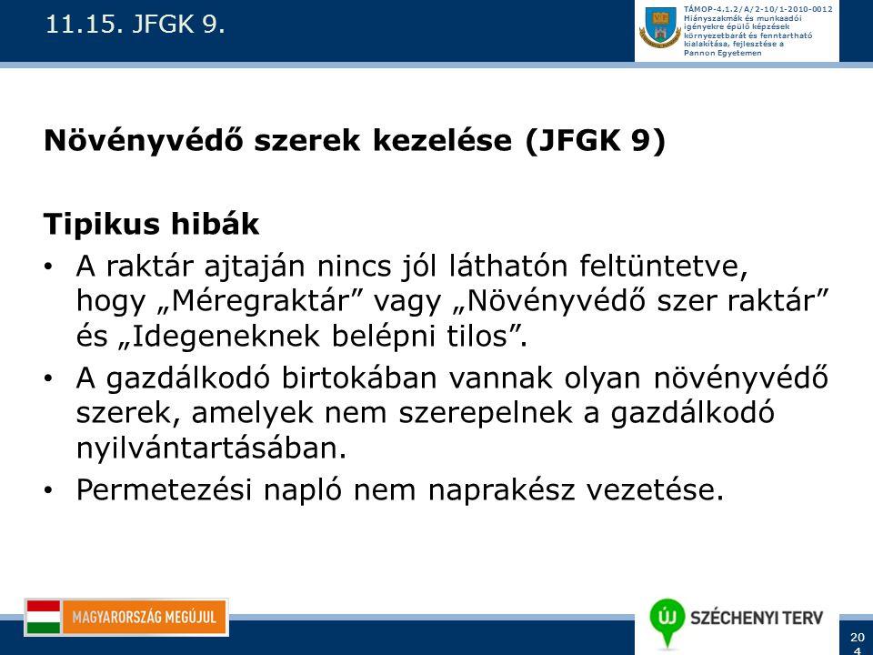 Növényvédő szerek kezelése (JFGK 9) Tipikus hibák