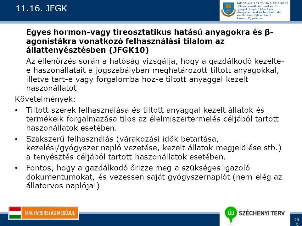 11.16. JFGK Egyes hormon-vagy tireosztatikus hatású anyagokra és β-agonistákra vonatkozó felhasználási tilalom az állattenyésztésben (JFGK10)