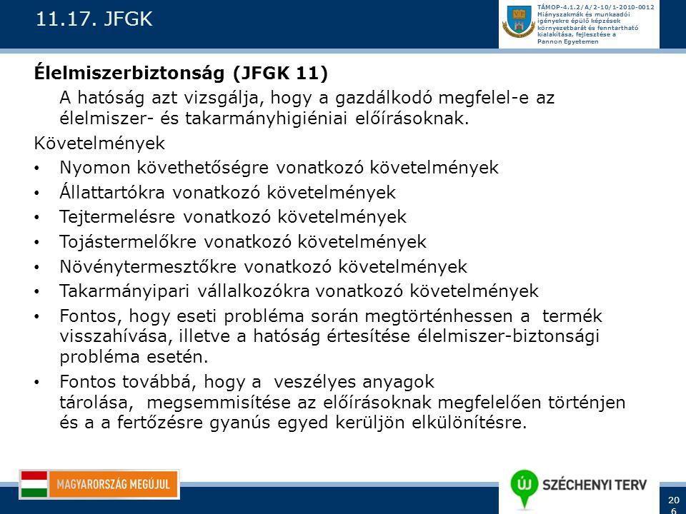 11.17. JFGK Élelmiszerbiztonság (JFGK 11)