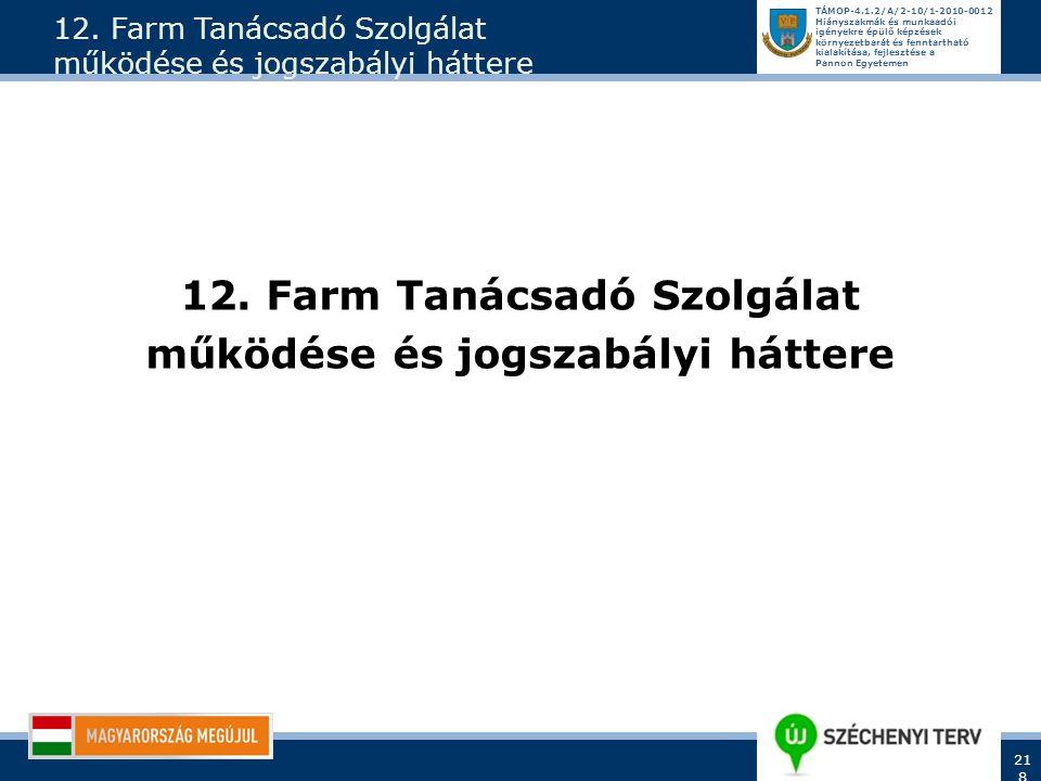 12. Farm Tanácsadó Szolgálat működése és jogszabályi háttere