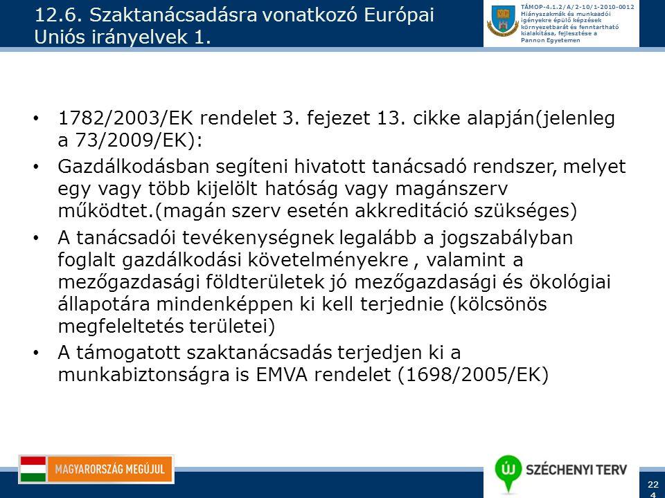 12.6. Szaktanácsadásra vonatkozó Európai Uniós irányelvek 1.