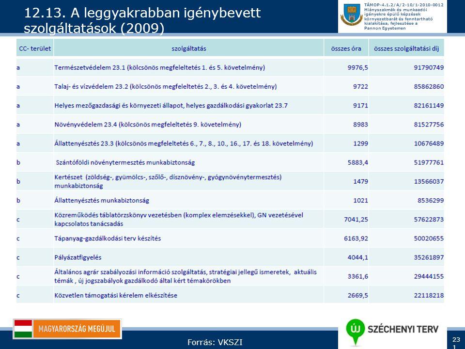 12.13. A leggyakrabban igénybevett szolgáltatások (2009)