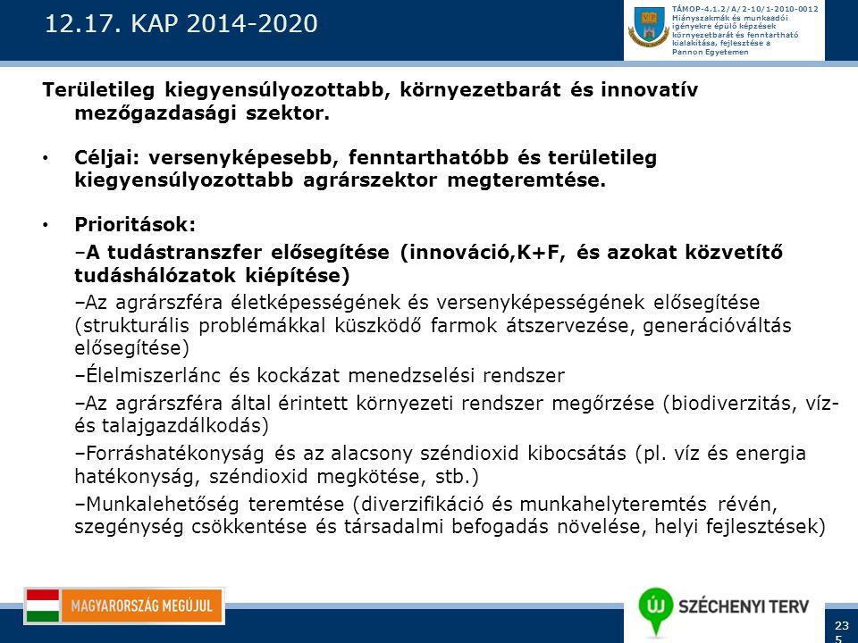 12.17. KAP 2014-2020 Területileg kiegyensúlyozottabb, környezetbarát és innovatív mezőgazdasági szektor.