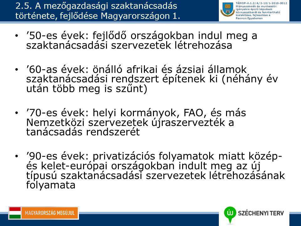 2.5. A mezőgazdasági szaktanácsadás története, fejlődése Magyarországon 1.