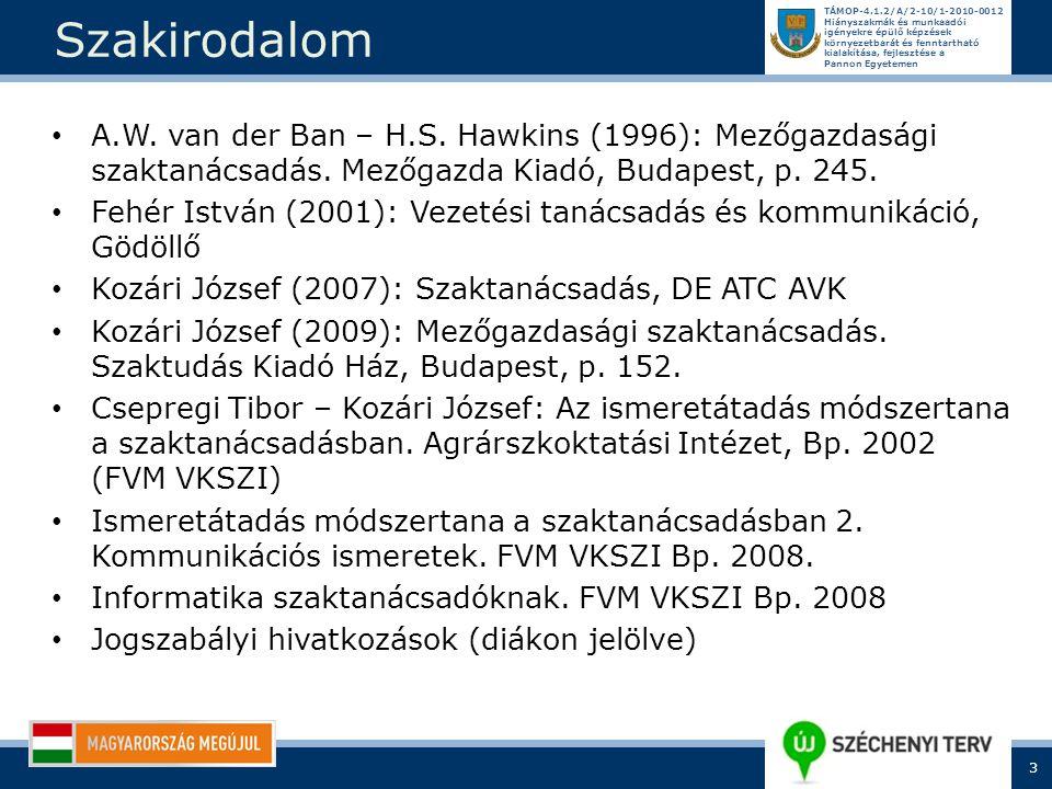 Szakirodalom A.W. van der Ban – H.S. Hawkins (1996): Mezőgazdasági szaktanácsadás. Mezőgazda Kiadó, Budapest, p. 245.