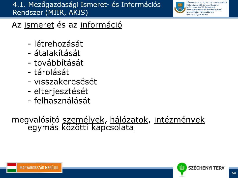 4.1. Mezőgazdasági Ismeret- és Információs Rendszer (MIIR, AKIS)